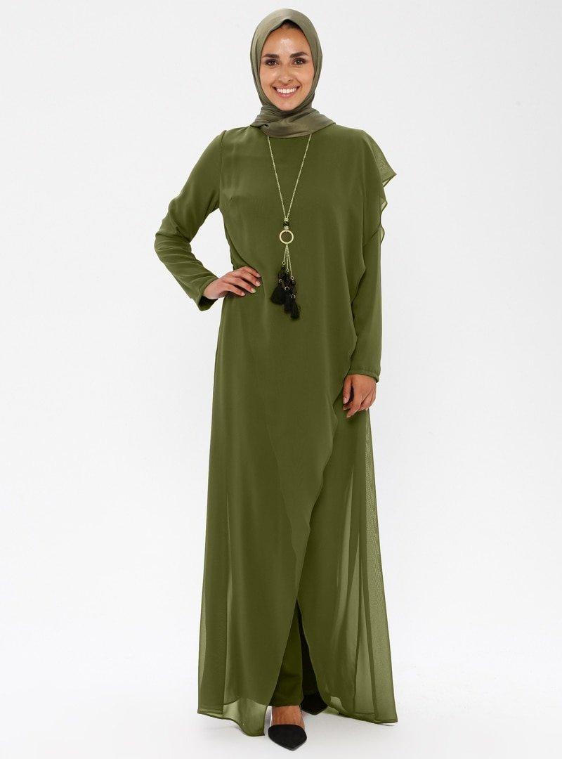 MEKSİLA Haki Kolyeli Tulum Elbise