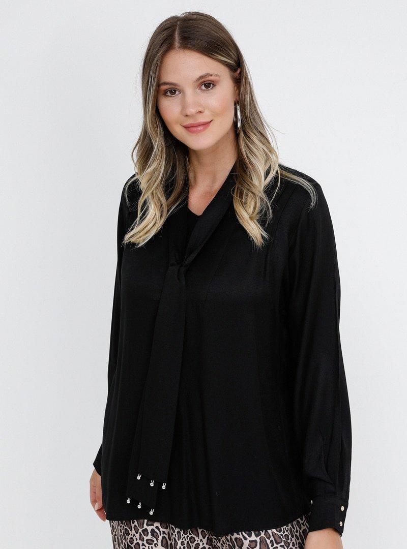 Alia Siyah Yakası Bağlamalı Bluz
