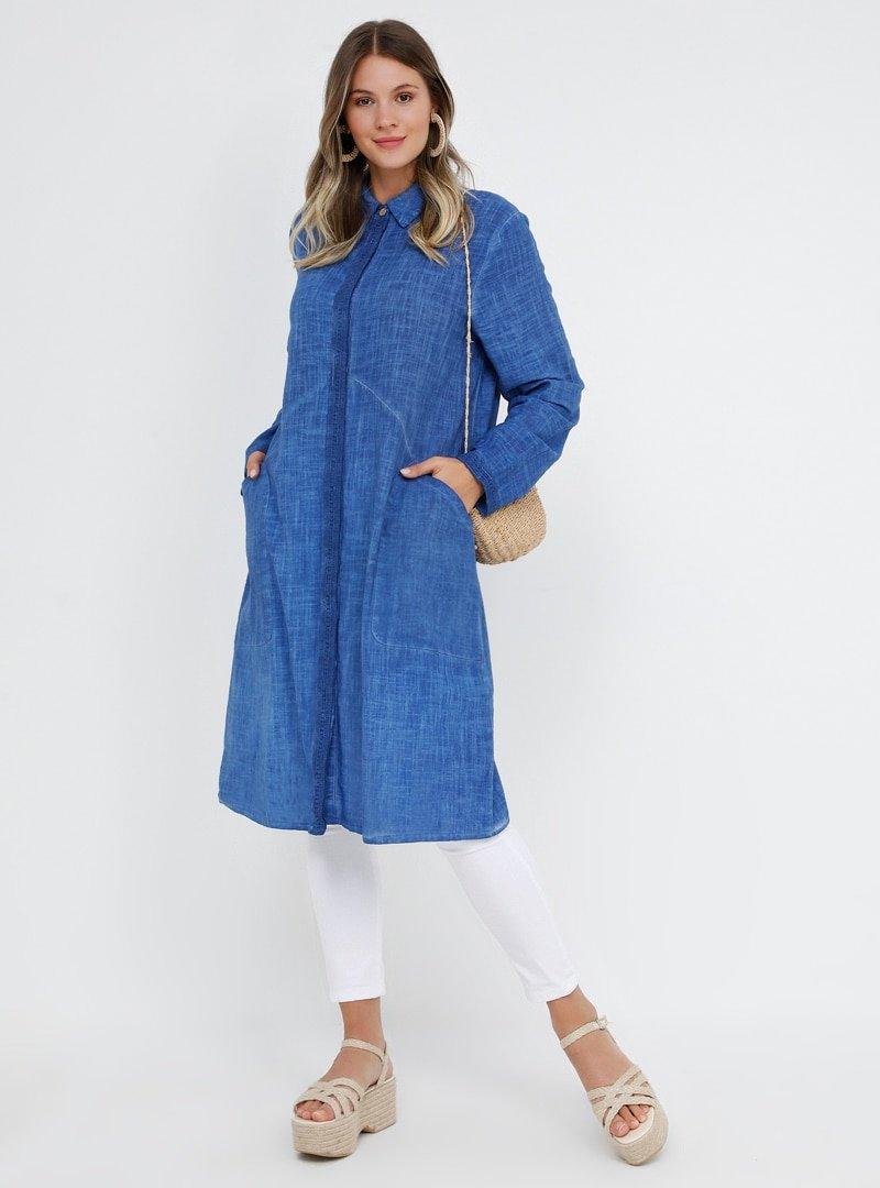 Alia İndigo Doğal Kumaşlı Cep Detaylı Tunik