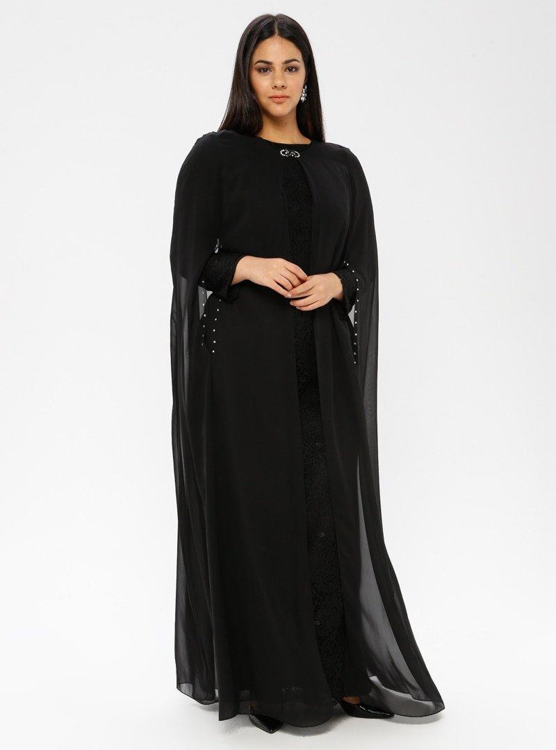 Sevdem Abiye Siyah Şifon Yelekli Dantelli Abiye Elbise
