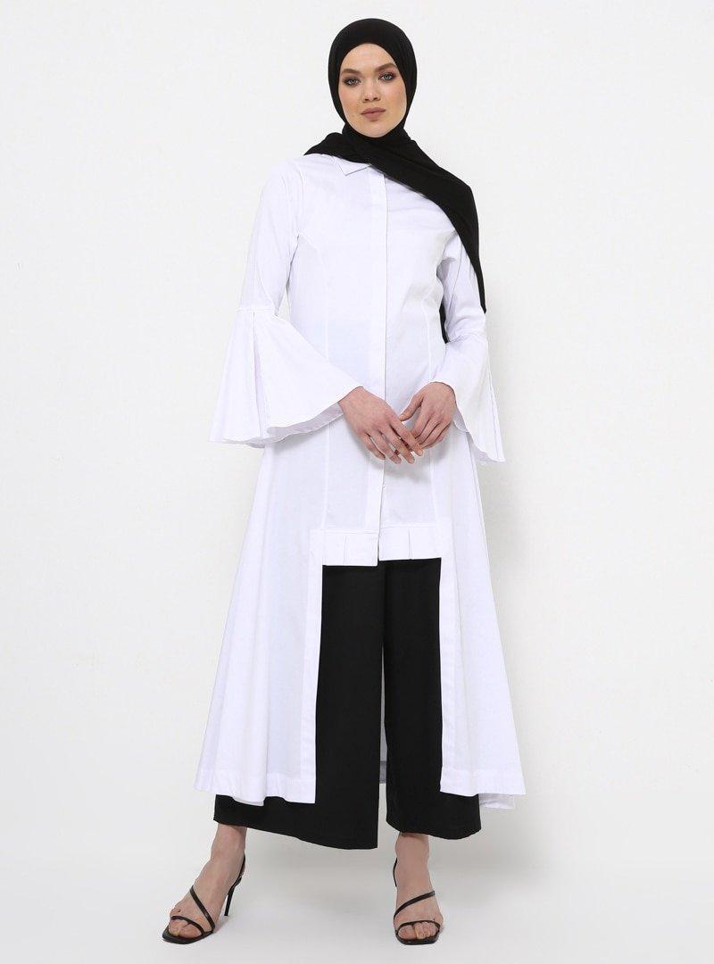 Rabia Z X Modanisa Beyaz Doğal Parlak Kumaşlı Asimetrik Kesim Tunik Elbise