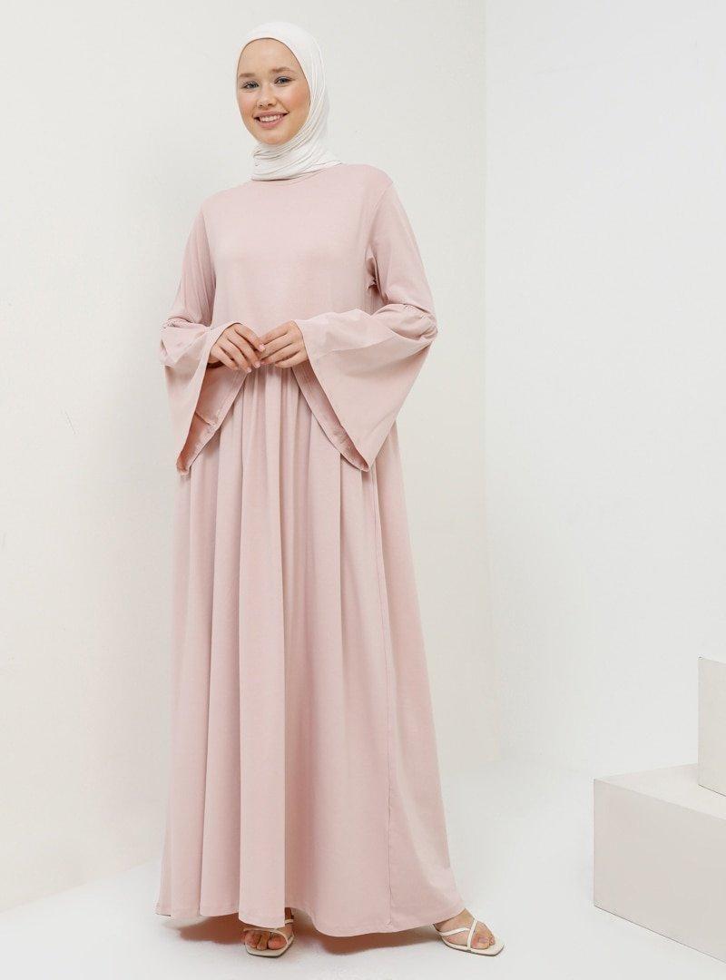 Benin Soft Pembe Doğal Kumaşlı Rahat Elbise