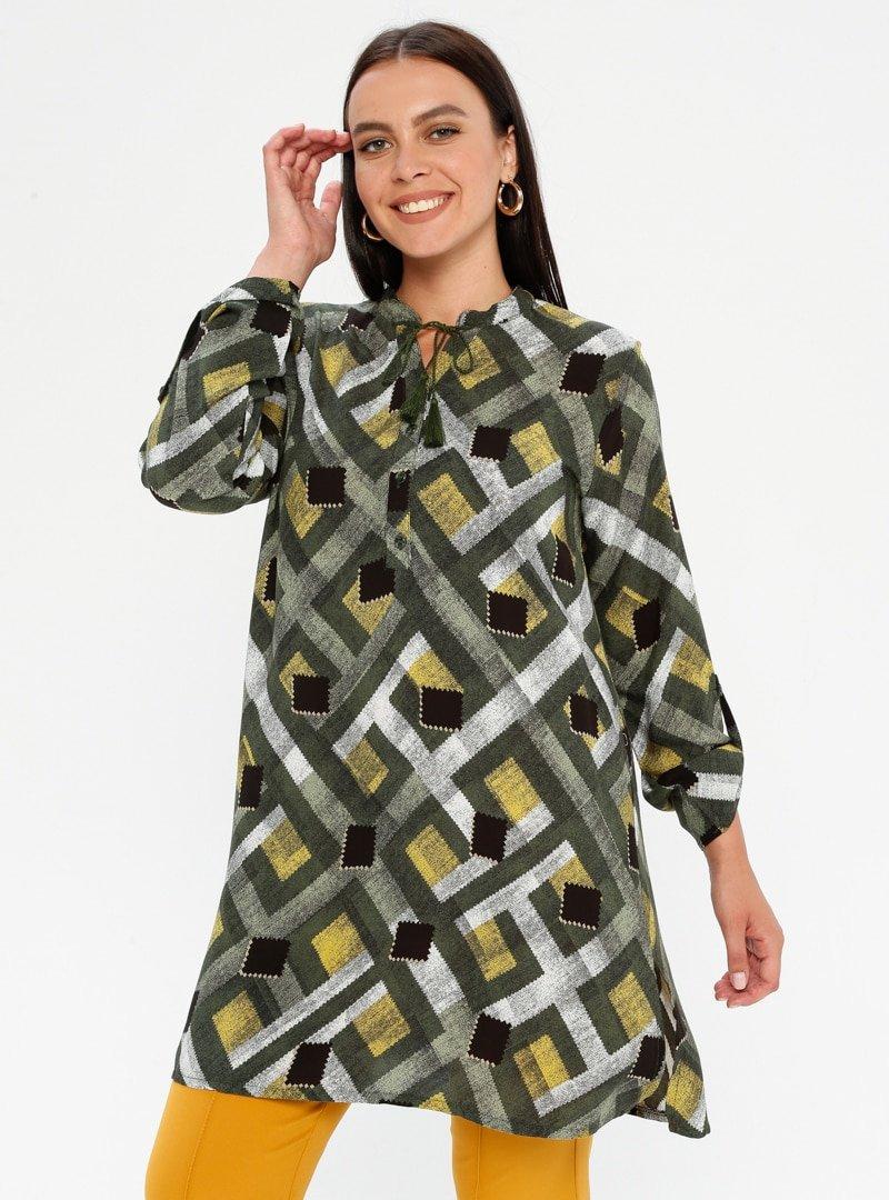Genç Style Yeşil Desenli Tunik