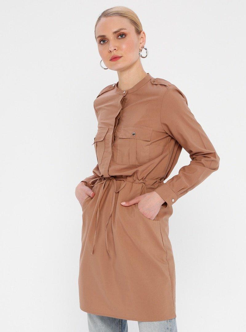 Fashion Light Camel Beli Büzgülü Tunik