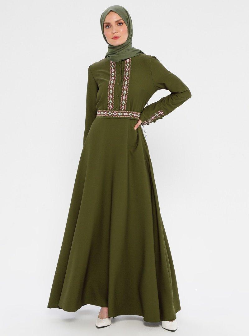 Laruj Haki Nakışlı Elbise