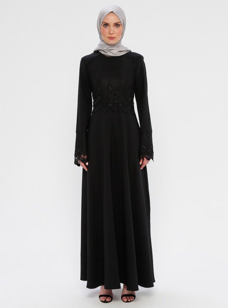 Laruj Siyah Drop Baskılı Elbise