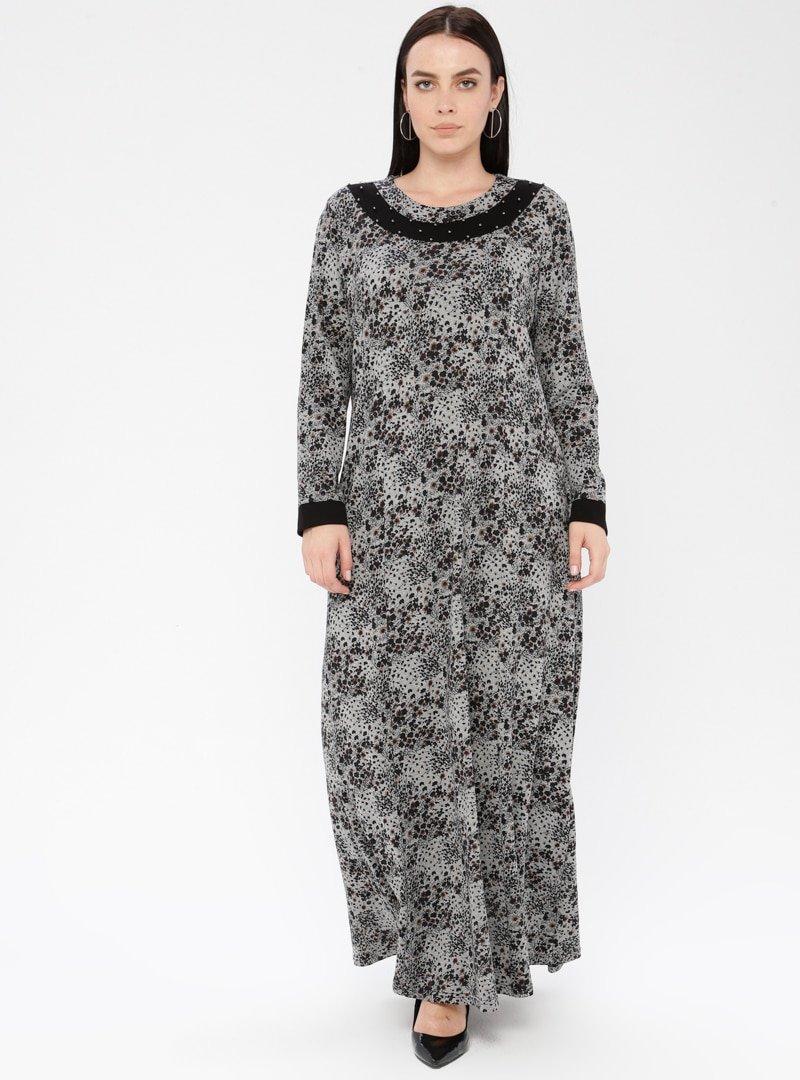 Metex Siyah Desenli Elbise