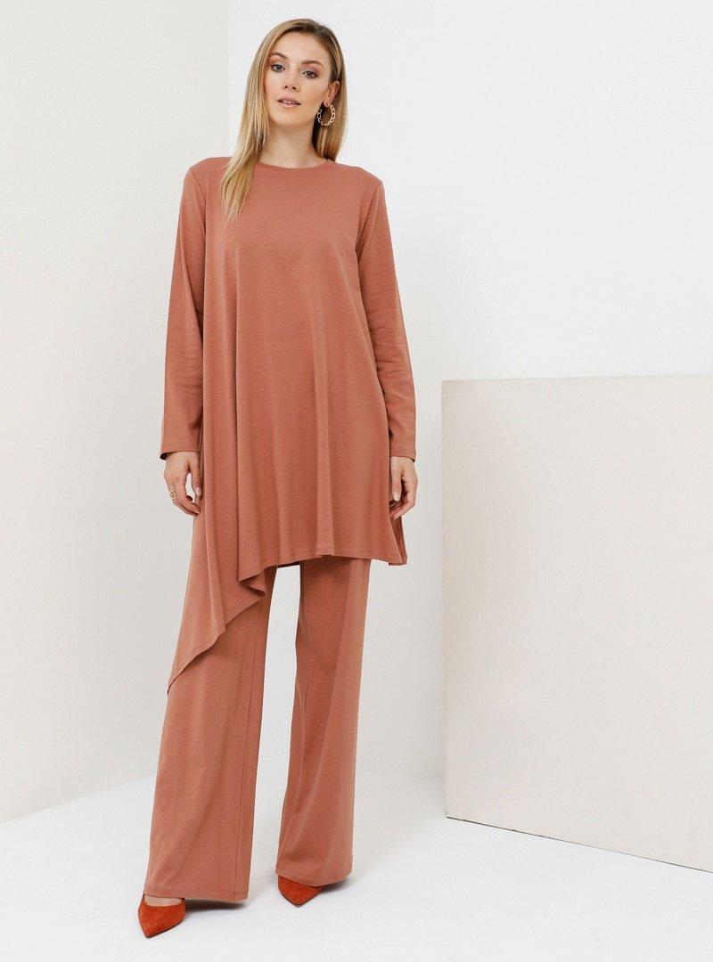 Everyday Basic Tarçın Doğal Kumaşlı Tunik&Pantolon İkili Takım