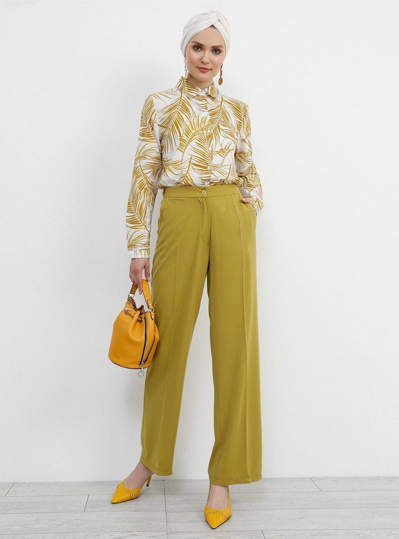 Refka Safran Cep Detaylı Pantolon