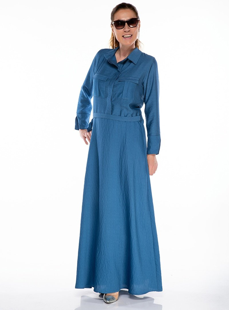 Melisita Indigo Keten Görünümlü Elbise