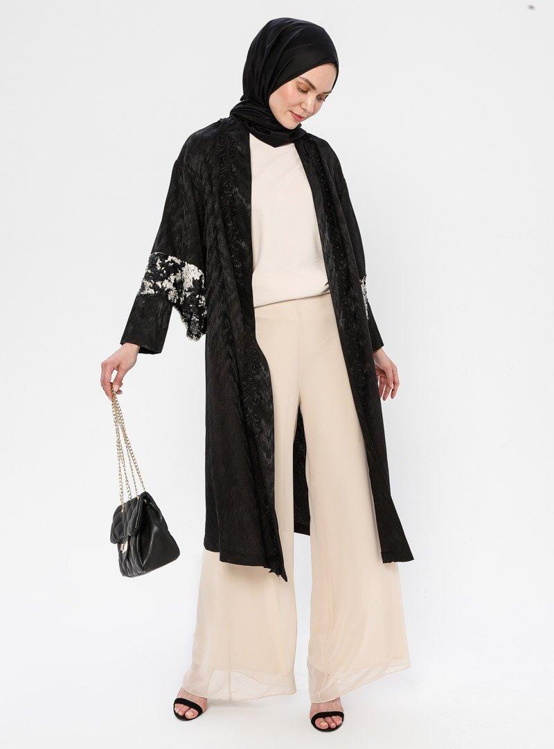 Mileny Siyah Payet Detaylı Kimono Ceket