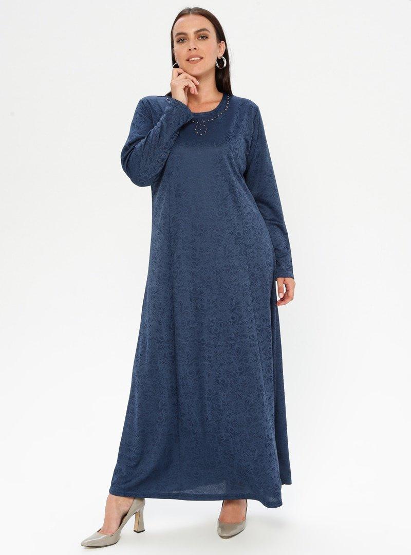 GELİNCE İndigo Drop Baskılı Elbise
