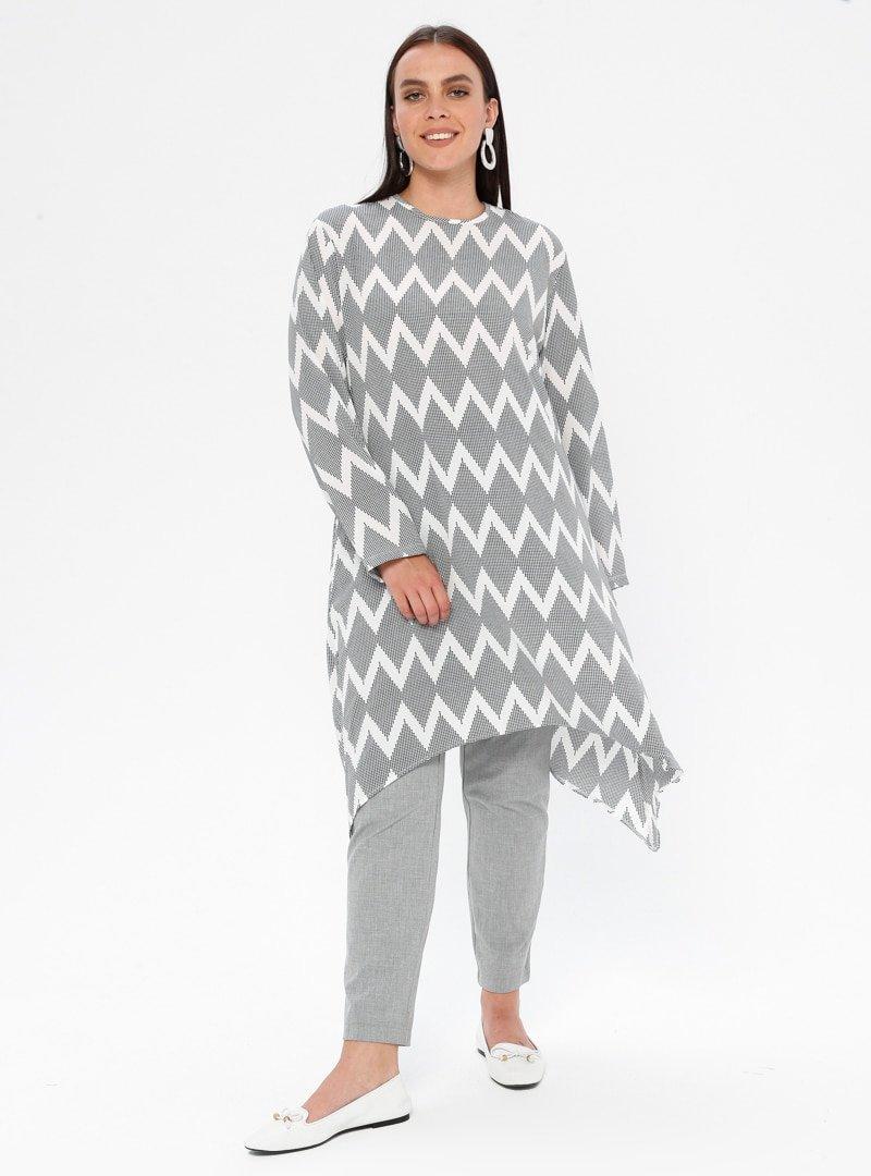 Picolina Siyah Beyaz Desenli Tunik