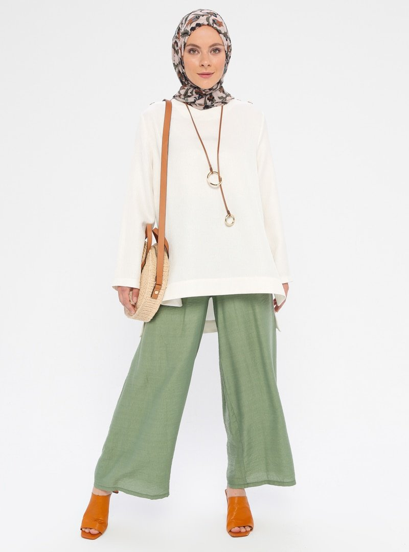 Sevit-Li Yeşil Beli Lastikli Pantolon
