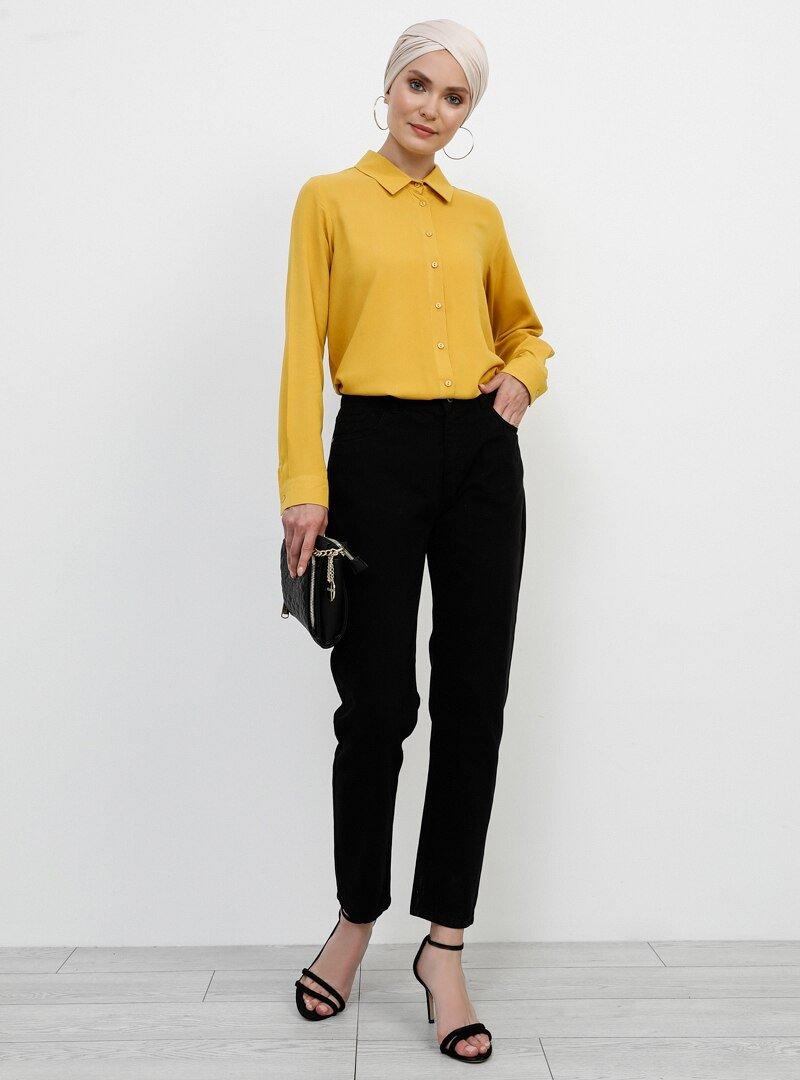 Refka Siyah Doğal Kumaşlı Cepli Pantolon