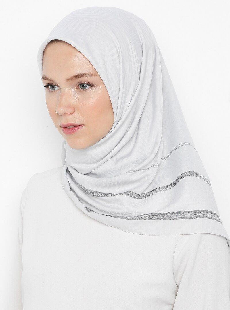 Miss Color Gümüş Jakarlı Lüks Hafif Eşarp