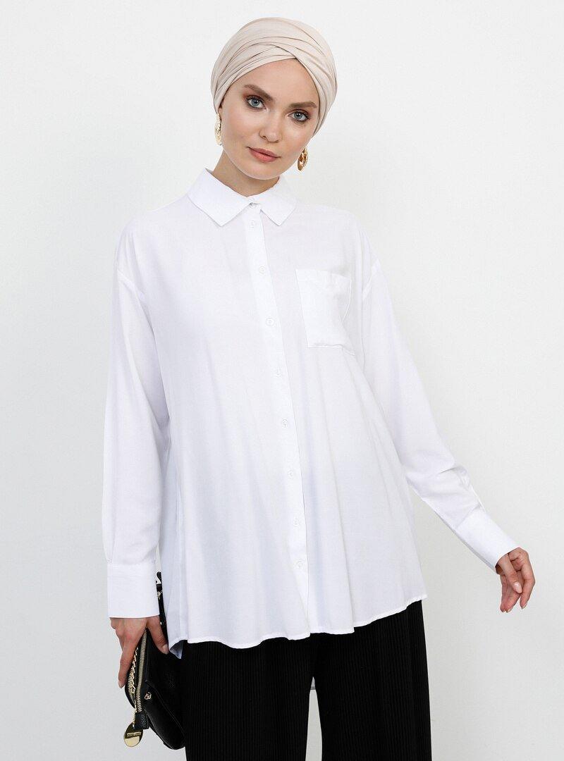 Refka Beyaz Arkası Uzun Cep Detaylı Gömlek