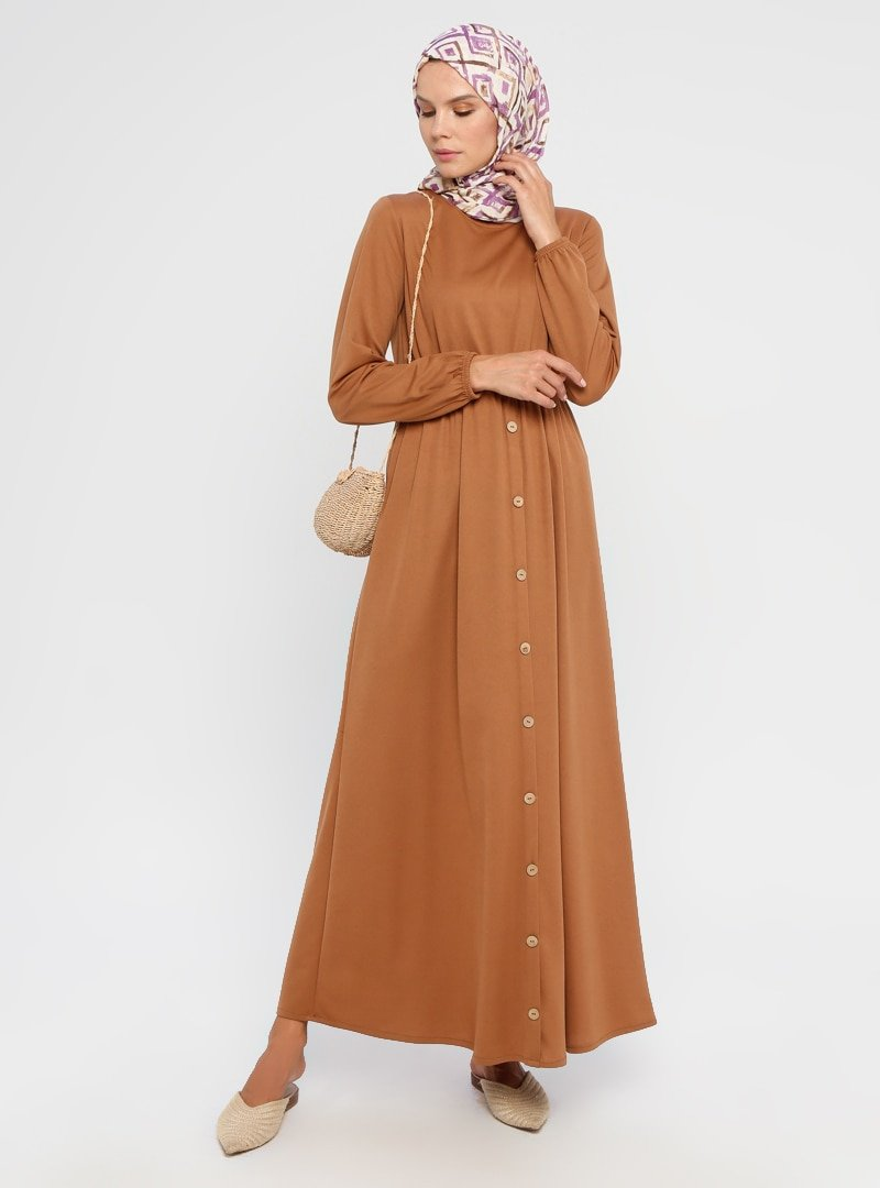 Filiz Fashion Camel Düğme Detaylı Elbise