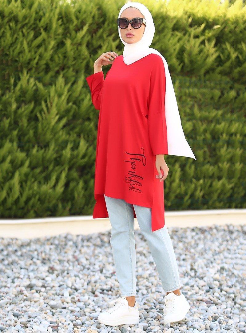 Lazeyn Kırmızı Sol Eteği Baskılı Arkası Uzun Tunik