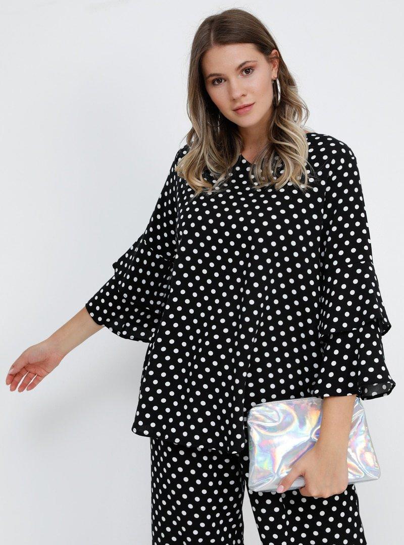 Alia Siyah Doğal Kumaşlı Puantiyeli Bluz
