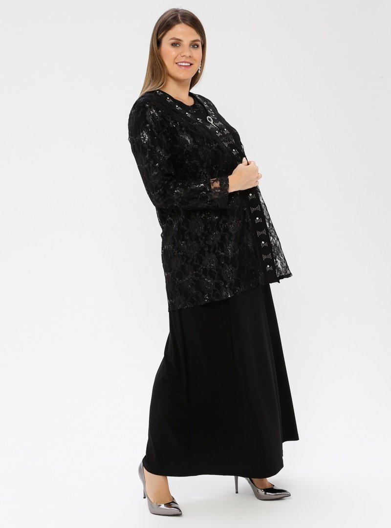 Metex Siyah Broşlu Dantelli Abiye Ceket & Elbise