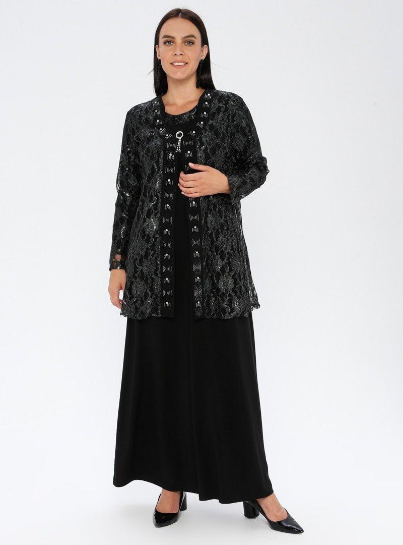 Metex Haki Broşlu Dantelli Abiye Ceket & Elbise