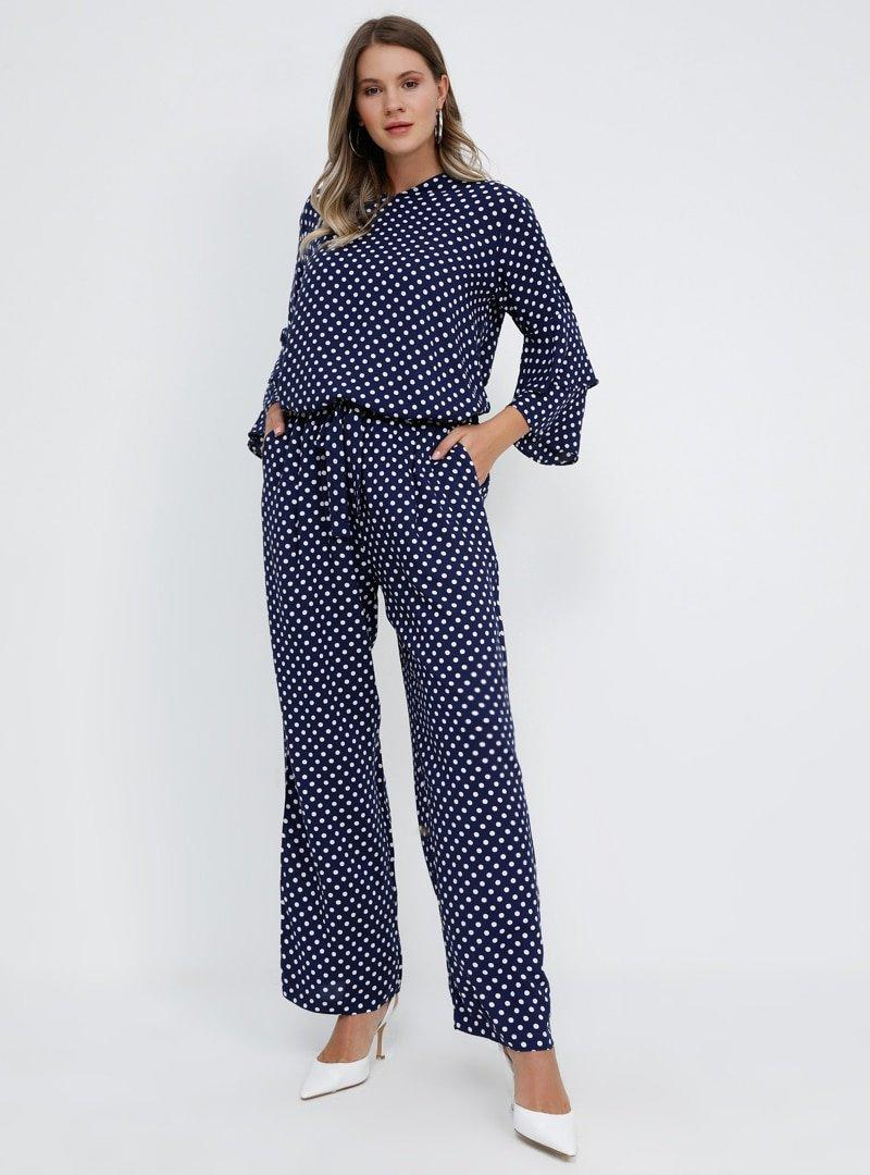 Alia Lacivert Doğal Kumaşlı Puantiyeli Pantolon