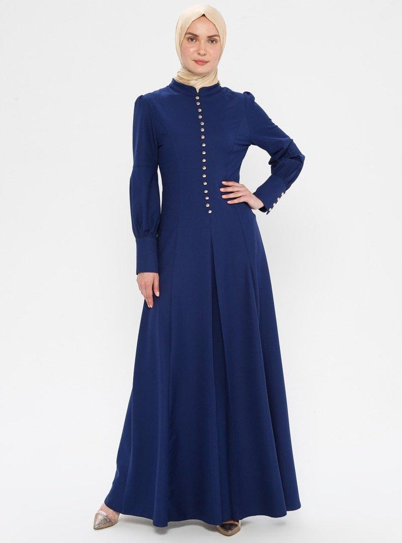 BÜRÜN İndigo Birit Detaylı Elbise
