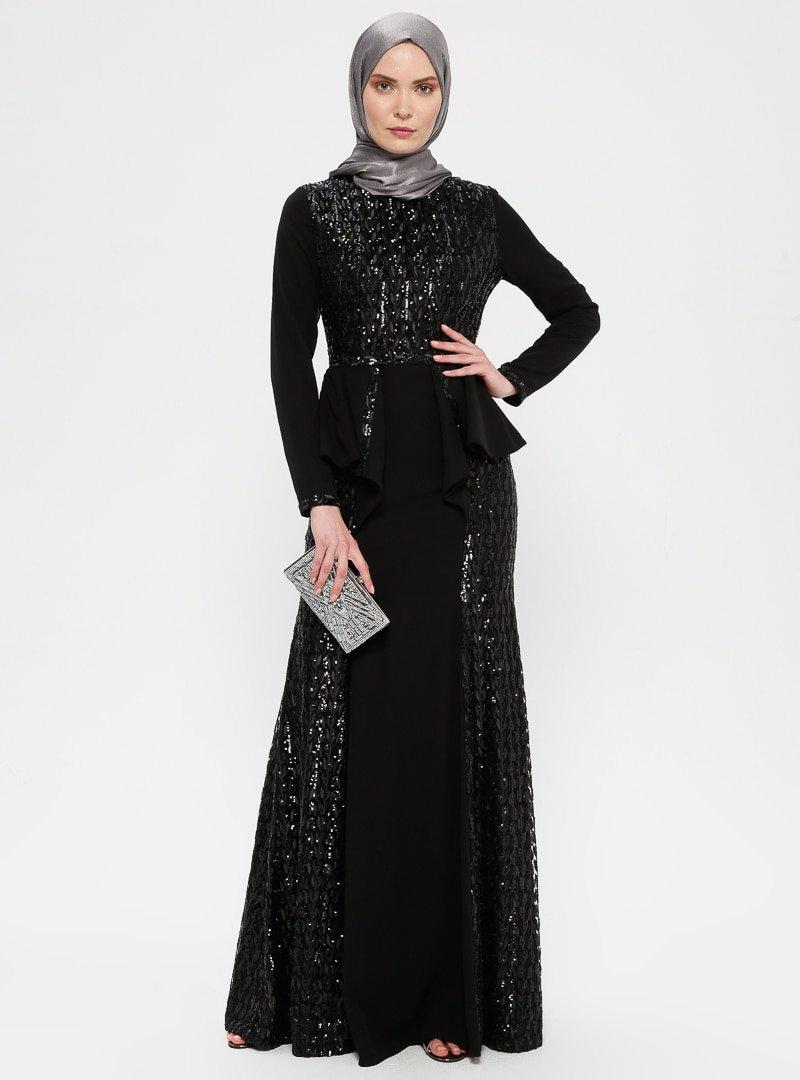 MODAYSA Siyah Payet Detaylı Abiye Elbise