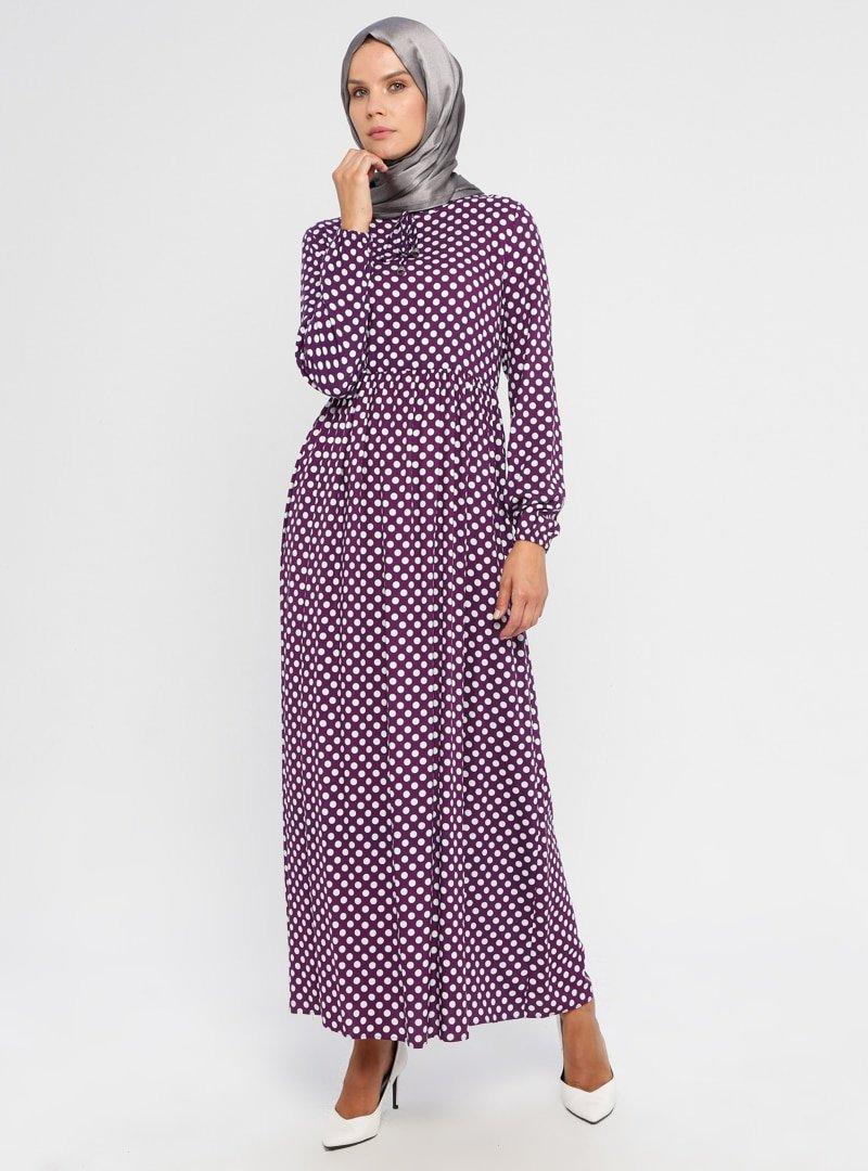 ECESUN Mor Puantiyeli Elbise