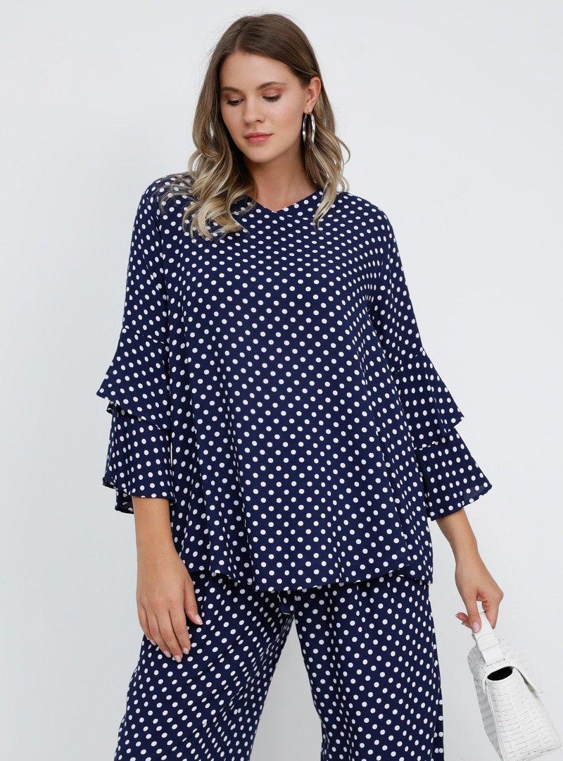 Alia Açık Lacivert Doğal Kumaşlı Puantiyeli Bluz