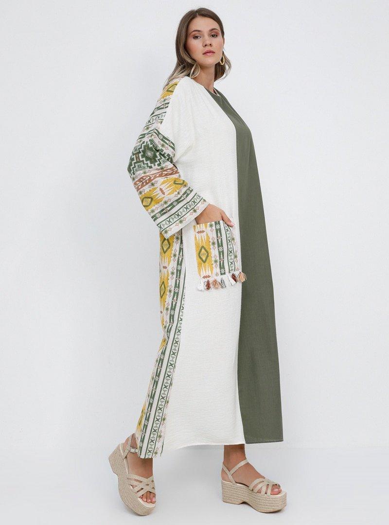 Alia Ekru Haki Doğal Kumaşlı Etnik Desenli Elbise