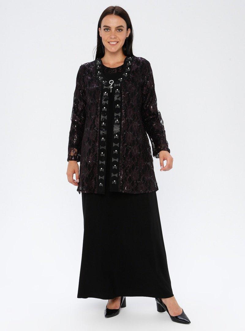 Metex Mürdüm Broşlu Dantelli Abiye Ceket & Elbise