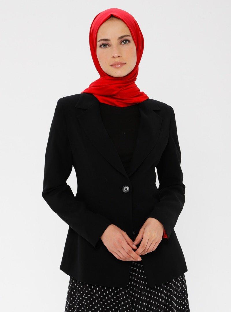 TUĞBA Siyah Şal Yaka Ceket