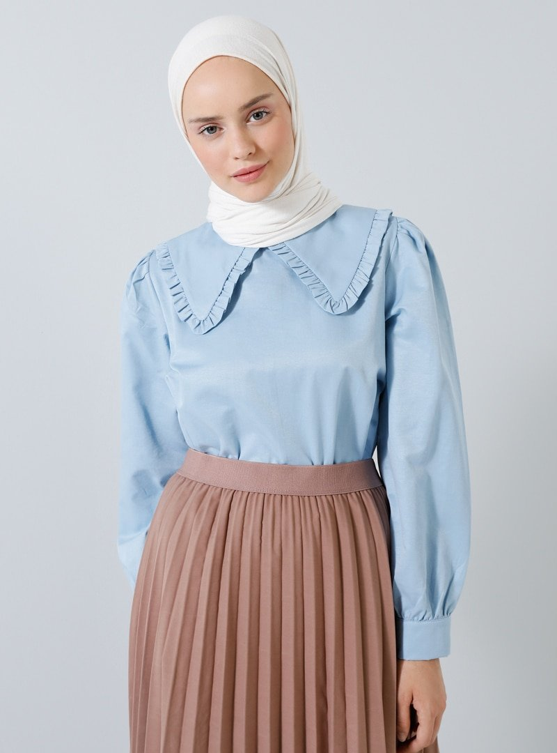 Benin Mavi Büyük Yakalı Pamuklu Bluz