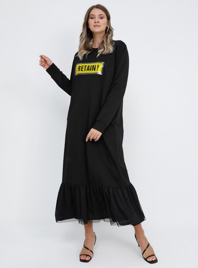 Alia Siyah Etek Ucu Tül Detaylı Spor Elbise