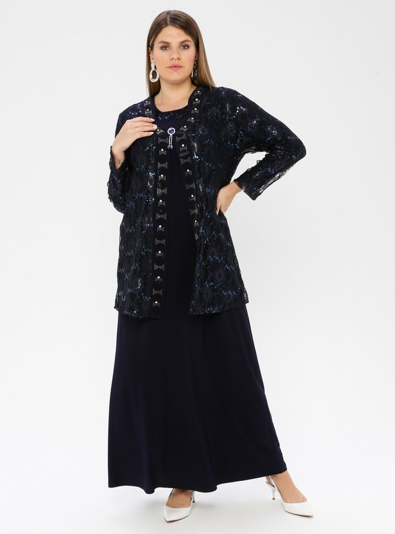 Metex Lacivert Broşlu Dantelli Abiye Ceket & Elbise