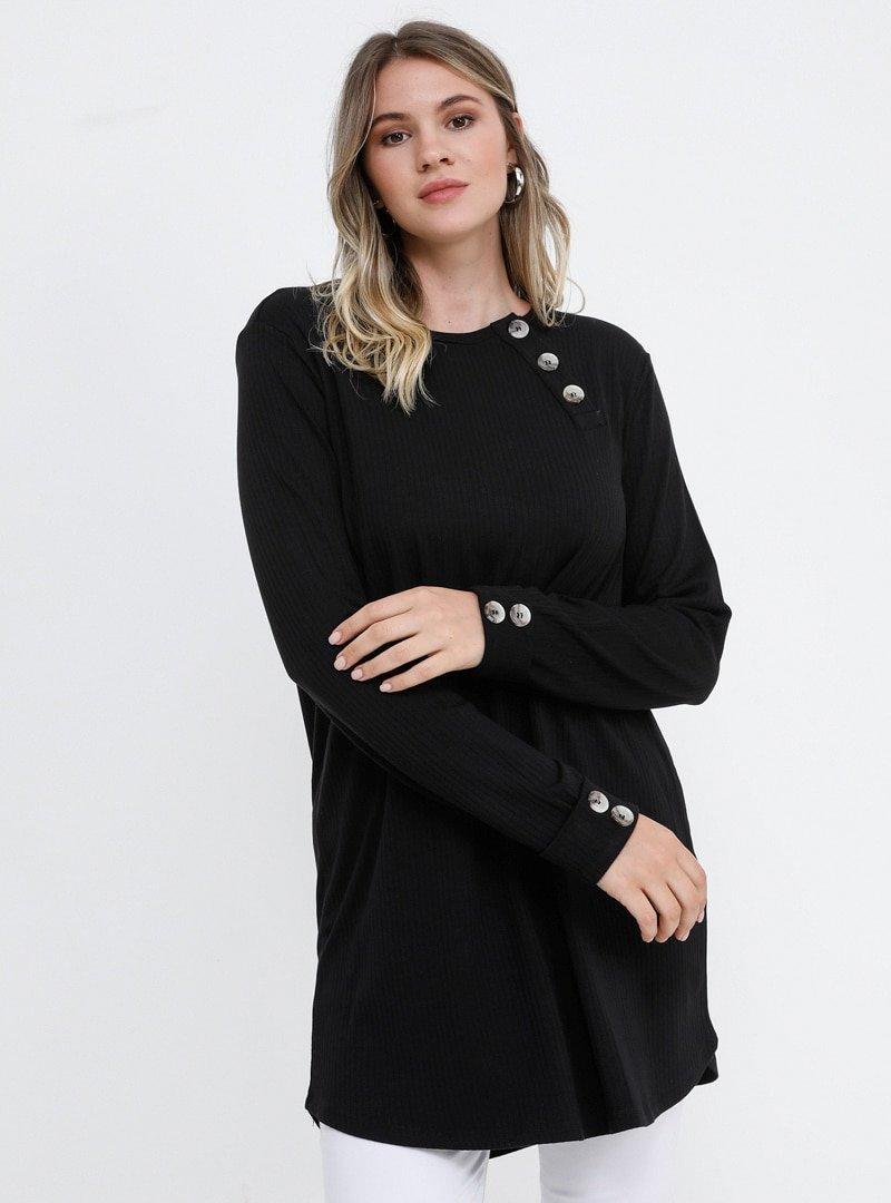 Alia Siyah Yakası Düğme Detaylı Tunik