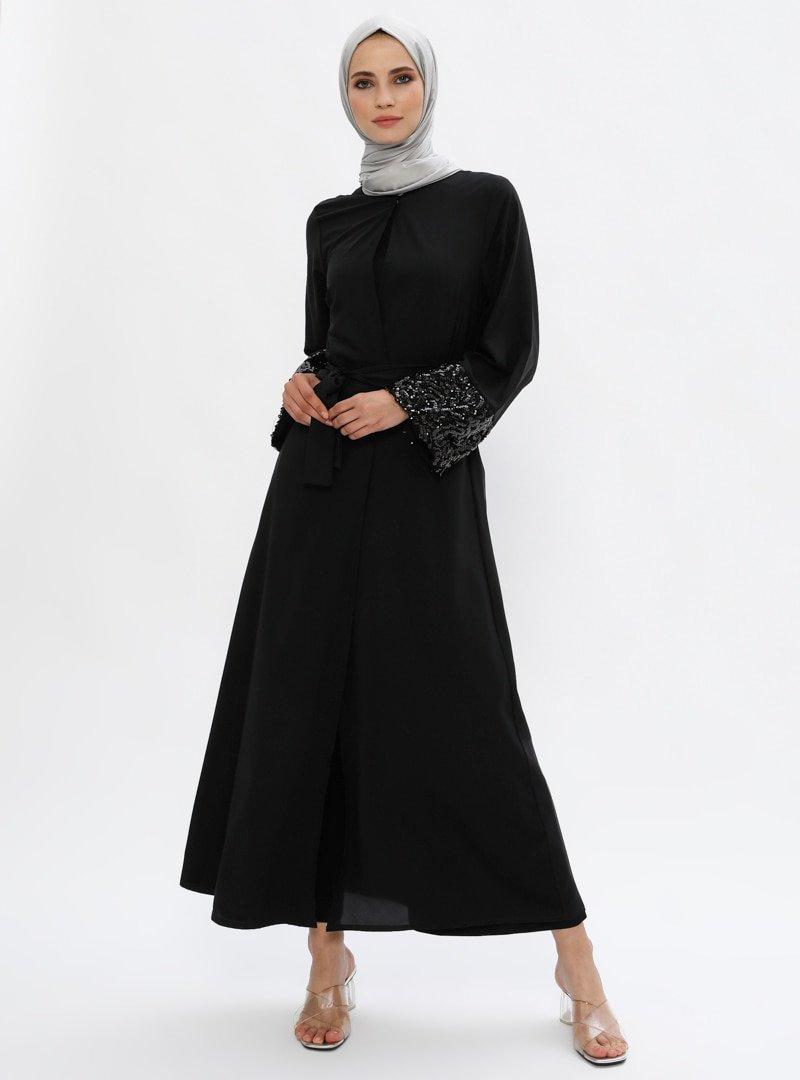 Filizzade Siyah Kolları Pul İşlemeli Ferace