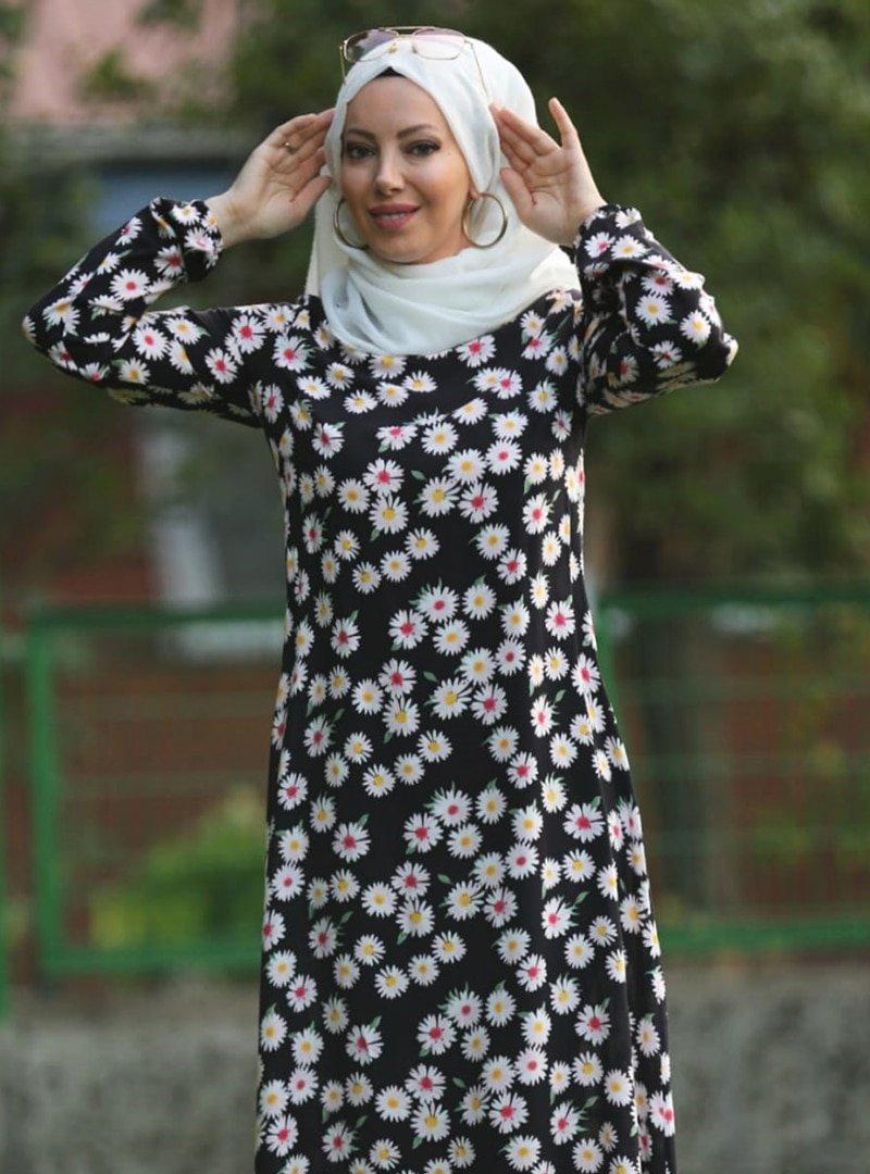 Esra Üstün Siyah Çiçek Desenli Elbise
