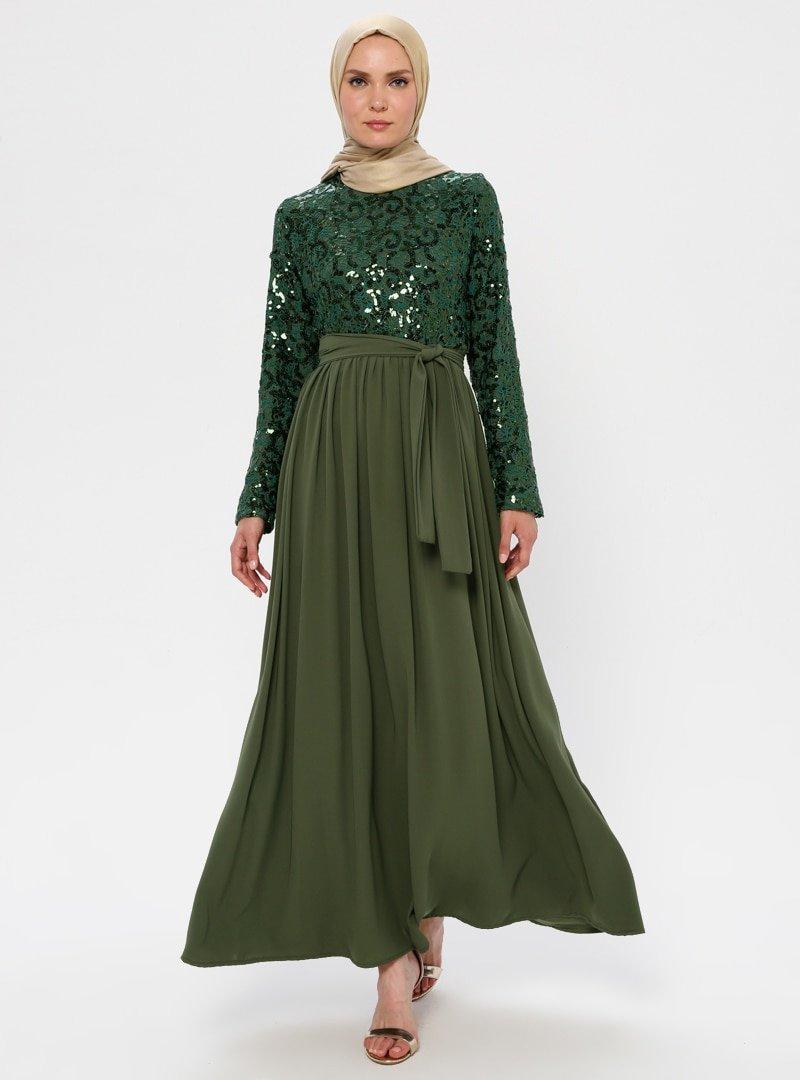 Filizzade Haki Payetli Abiye Elbise
