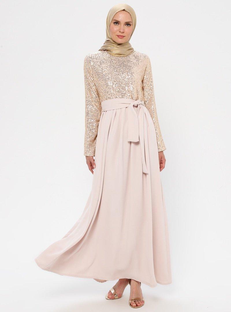 Filizzade Krem Payetli Abiye Elbise