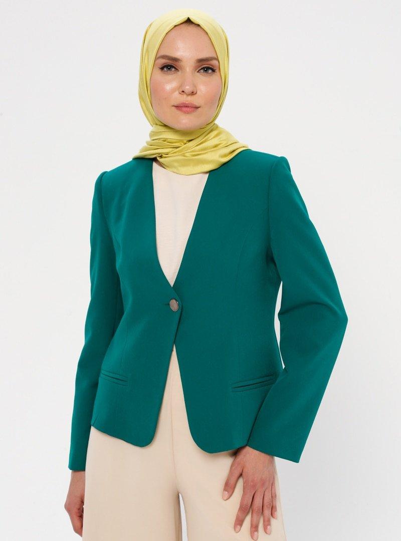 Butik Miza Yeşil Tek Düğmeli Klasik Ceket
