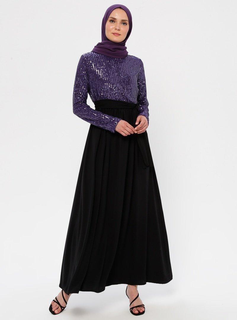 Filizzade Mor Siyah Payetli Abiye Elbise