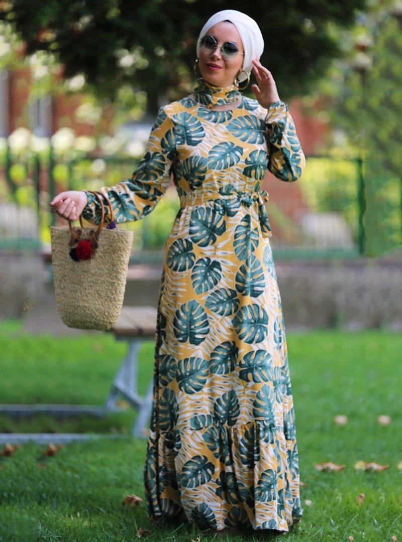 Esra Üstün Sarı Çiçekli Elbise