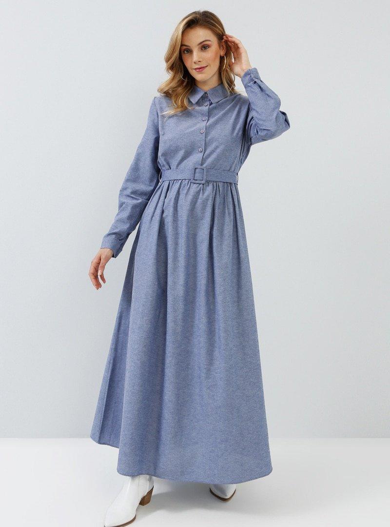 Everyday Basic Lacivert Doğal Kumaşlı Kemer Detaylı Elbise