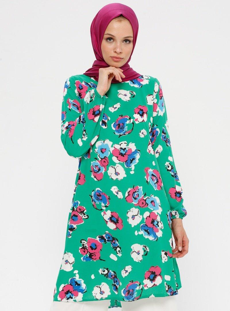Ginezza Yeşil Fuşya Çiçek Desenli Tunik