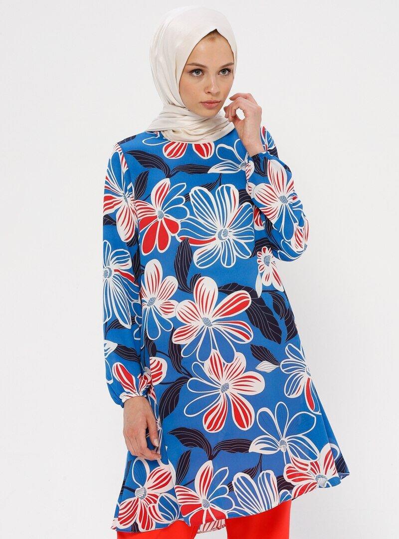 Ginezza Mavi Beyaz Çiçek Desenli Tunik