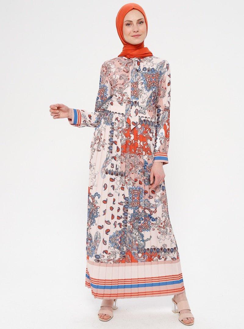 Mia Line Turuncu Desenli Elbise