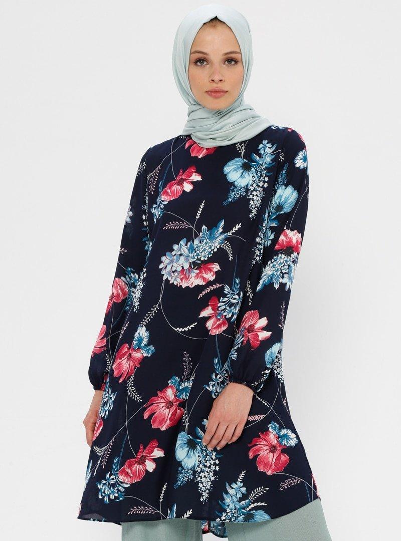 Ginezza Lacivert Fuşya Çiçek Desenli Tunik